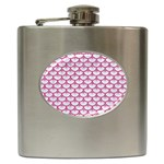 SCALES3 WHITE MARBLE & PINK DENIM (R) Hip Flask (6 oz) Front
