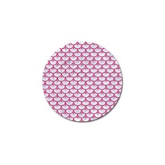 Scales3 White Marble & Pink Denim (r) Golf Ball Marker by trendistuff