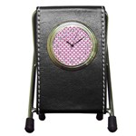 SCALES3 WHITE MARBLE & PINK DENIM (R) Pen Holder Desk Clocks Front