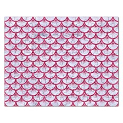 Scales3 White Marble & Pink Denim (r) Rectangular Jigsaw Puzzl