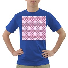 Scales3 White Marble & Pink Denim (r) Dark T Shirt