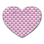 SCALES3 WHITE MARBLE & PINK DENIM (R) Heart Mousepads Front