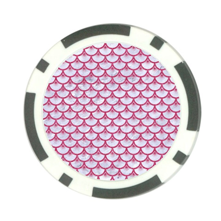 SCALES3 WHITE MARBLE & PINK DENIM (R) Poker Chip Card Guard