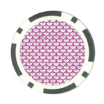 SCALES3 WHITE MARBLE & PINK DENIM (R) Poker Chip Card Guard Back