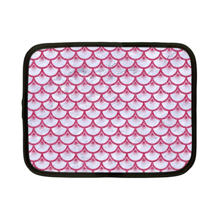 SCALES3 WHITE MARBLE & PINK DENIM (R) Netbook Case (Small)