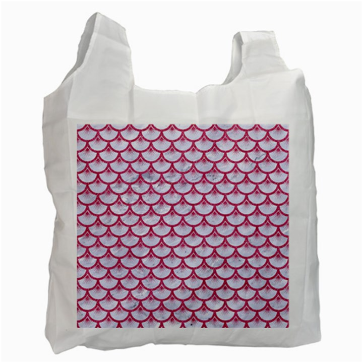 SCALES3 WHITE MARBLE & PINK DENIM (R) Recycle Bag (One Side)