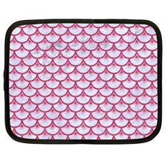 Scales3 White Marble & Pink Denim (r) Netbook Case (xl)
