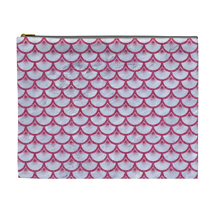 SCALES3 WHITE MARBLE & PINK DENIM (R) Cosmetic Bag (XL)