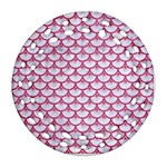 SCALES3 WHITE MARBLE & PINK DENIM (R) Round Filigree Ornament (Two Sides) Front