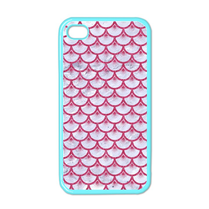 SCALES3 WHITE MARBLE & PINK DENIM (R) Apple iPhone 4 Case (Color)