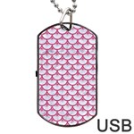 SCALES3 WHITE MARBLE & PINK DENIM (R) Dog Tag USB Flash (Two Sides) Back