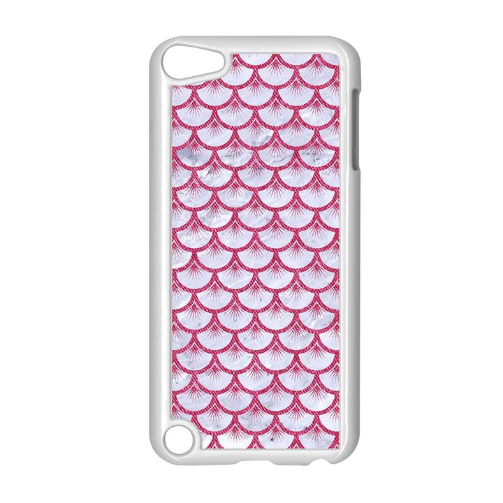 SCALES3 WHITE MARBLE & PINK DENIM (R) Apple iPod Touch 5 Case (White)