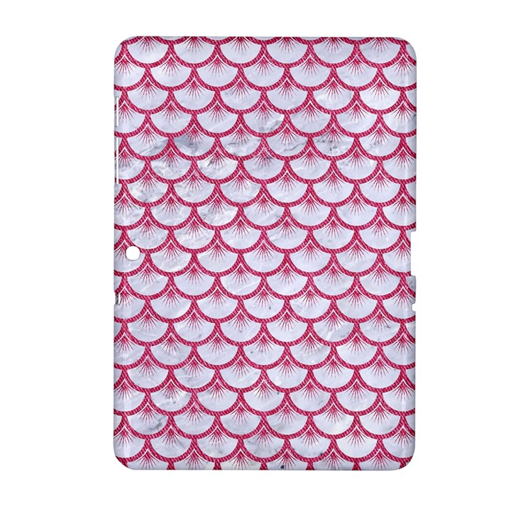 SCALES3 WHITE MARBLE & PINK DENIM (R) Samsung Galaxy Tab 2 (10.1 ) P5100 Hardshell Case