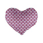 SCALES3 WHITE MARBLE & PINK DENIM (R) Standard 16  Premium Flano Heart Shape Cushions Front