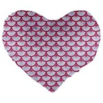 SCALES3 WHITE MARBLE & PINK DENIM (R) Large 19  Premium Flano Heart Shape Cushions Front