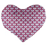SCALES3 WHITE MARBLE & PINK DENIM (R) Large 19  Premium Flano Heart Shape Cushions Back