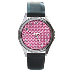 Scales3 White Marble & Pink Denim Round Metal Watch