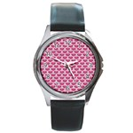 SCALES3 WHITE MARBLE & PINK DENIM Round Metal Watch Front