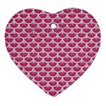 SCALES3 WHITE MARBLE & PINK DENIM Ornament (Heart) Front