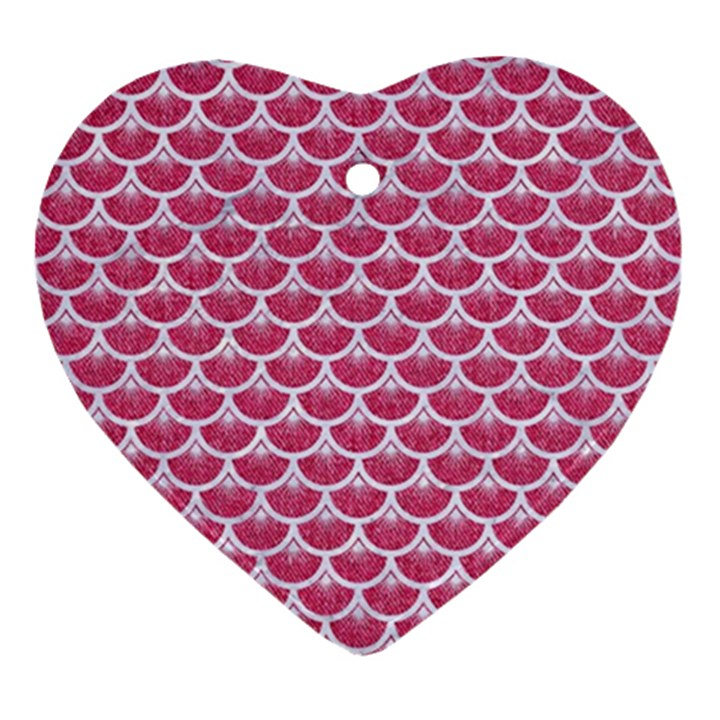 SCALES3 WHITE MARBLE & PINK DENIM Ornament (Heart)