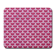 Scales3 White Marble & Pink Denim Large Mousepads