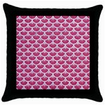 SCALES3 WHITE MARBLE & PINK DENIM Throw Pillow Case (Black) Front