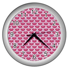 Scales3 White Marble & Pink Denim Wall Clocks (silver)