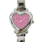 SCALES3 WHITE MARBLE & PINK DENIM Heart Italian Charm Watch Front