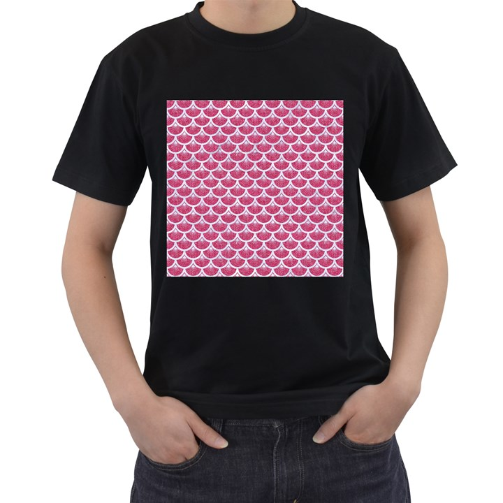 SCALES3 WHITE MARBLE & PINK DENIM Men s T-Shirt (Black) (Two Sided)