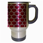 SCALES3 WHITE MARBLE & PINK DENIM Travel Mug (Silver Gray) Right