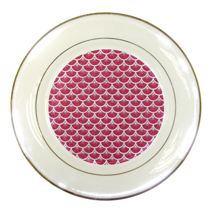 SCALES3 WHITE MARBLE & PINK DENIM Porcelain Plates