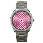 SCALES3 WHITE MARBLE & PINK DENIM Sport Metal Watch Front