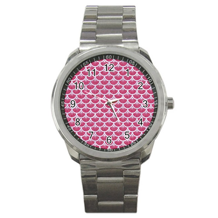 SCALES3 WHITE MARBLE & PINK DENIM Sport Metal Watch