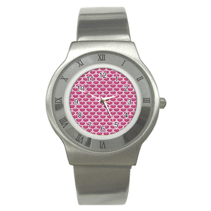 SCALES3 WHITE MARBLE & PINK DENIM Stainless Steel Watch
