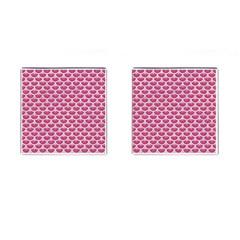 Scales3 White Marble & Pink Denim Cufflinks (square)