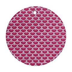 Scales3 White Marble & Pink Denim Round Ornament (two Sides)