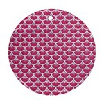 SCALES3 WHITE MARBLE & PINK DENIM Round Ornament (Two Sides) Front