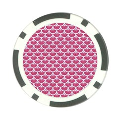 Scales3 White Marble & Pink Denim Poker Chip Card Guard