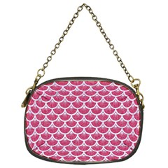 Scales3 White Marble & Pink Denim Chain Purses (one Side)  by trendistuff