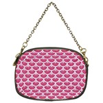 SCALES3 WHITE MARBLE & PINK DENIM Chain Purses (Two Sides)  Front