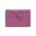 SCALES3 WHITE MARBLE & PINK DENIM Cosmetic Bag (Medium)  Front