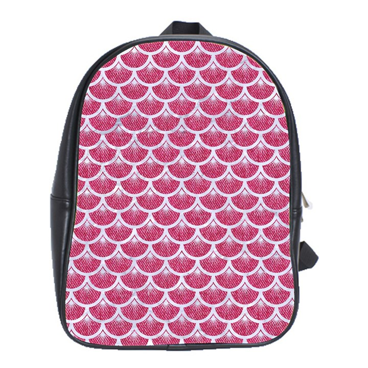 SCALES3 WHITE MARBLE & PINK DENIM School Bag (Large)