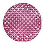 SCALES3 WHITE MARBLE & PINK DENIM Ornament (Round Filigree) Front