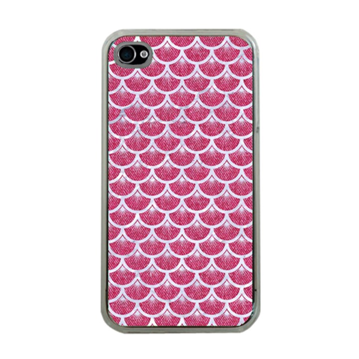 SCALES3 WHITE MARBLE & PINK DENIM Apple iPhone 4 Case (Clear)