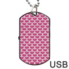 Scales3 White Marble & Pink Denim Dog Tag Usb Flash (two Sides)