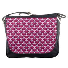 Scales3 White Marble & Pink Denim Messenger Bags by trendistuff