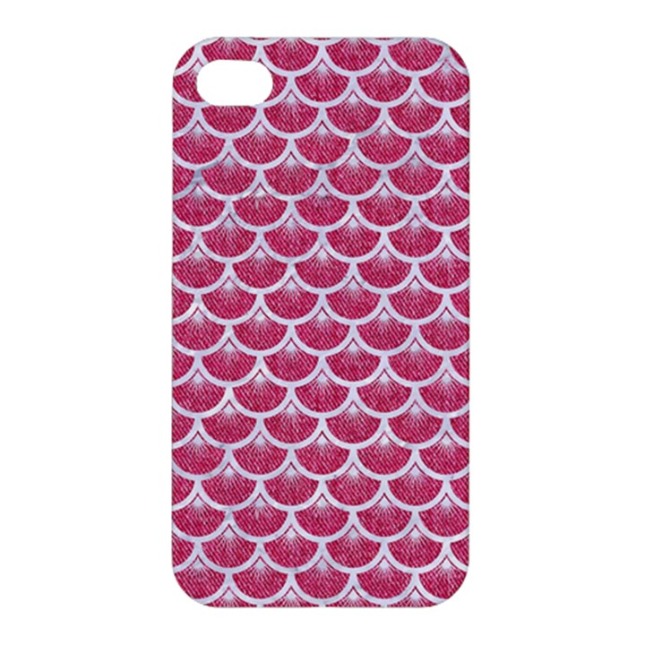 SCALES3 WHITE MARBLE & PINK DENIM Apple iPhone 4/4S Premium Hardshell Case