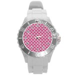 SCALES3 WHITE MARBLE & PINK DENIM Round Plastic Sport Watch (L) Front