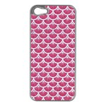 SCALES3 WHITE MARBLE & PINK DENIM Apple iPhone 5 Case (Silver) Front