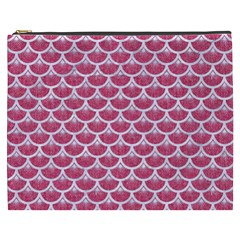 Scales3 White Marble & Pink Denim Cosmetic Bag (xxxl)